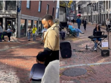 Boston Street Performer Surprised to See John Legend in the Crowd While Singing One of His Songs